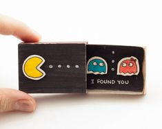 "Pacman Anniversary Love Card Matchbox ""I found you"" / Card / Gift box / Message box Matchbox Crafts, Matchbox Art, Love Cards, Diy Cards, Cute Gifts, Diy Gifts, Diy Quirky Gifts, Diy Cadeau, Little Presents"