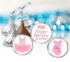 108 Personalized Ballet Dance Birthday Party Favor Stickers | Etsy Dance Party Birthday, Ballerina Birthday Parties, Birthday Party Favors, Hersey Kisses, Round Labels, Bar Wrappers, Printing Labels, Ballet Dance, Party Ideas