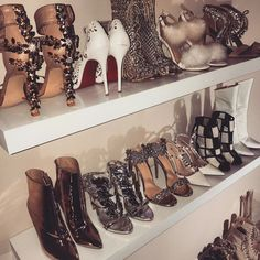 Amber Scholl's shoe closet! Cute Shoes, Me Too Shoes, Shoe Boots, Shoes Heels, Luanna, Beauty And Fashion, Prom Heels, Shoe Closet, Thigh High Boots