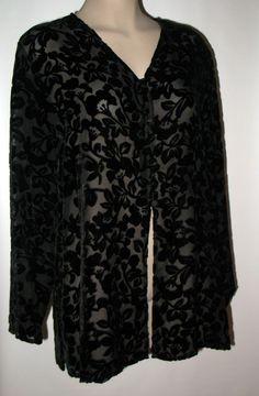 LAURA ASHLEY Burnout Velvet Tunic Shirt/jacket - BLACK - M Silk Blend #LauraAshley #DressyToporJacket #Versatile
