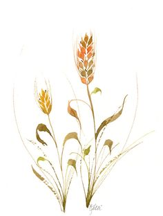 This is an original watercolor painting of wheat stalks. Colored in the shades of autumn - browns, golds, oranges, and olive green this painting would be a wonderful addition to your home or fall decor. This would look lovely displayed in a kitchen or dining area. It would also make a wonderful gift for a gardener or plant lover. The finished painting is 8 x 10 and comes with a brand new white mat that will easily fit into a standard 11 x 14 frame. The frame is not included. The painting is…