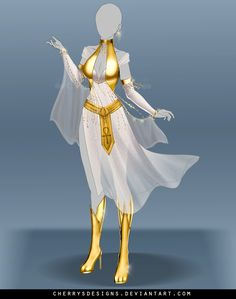 (closed) Outfit Adopt 679 - Bast (Bastet) by CherrysDesigns on DeviantArt Dress Drawing, Drawing Clothes, Fashion Design Drawings, Fashion Sketches, Anime Outfits, Cool Outfits, Egyptian Cat Goddess, Egyptian Mythology, Egyptian Art