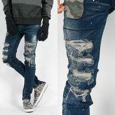 RememberClick/Distressed Camo Pocket Skinny Jeans Denim Korean P0000IDV S M L XL #RememberClick #SlimSkinny