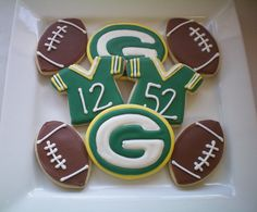 Packers Cookies :) my kind of cookies!!  Would make all my jerseys with #4.
