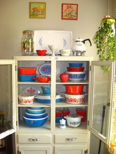 Red and blue Pyrex collection