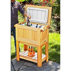 Turn an eyesore into an eye-catcher by building this no-stoop stand for your cooler. We source a flat-topped 48-quart Coleman cooler with a drain and an easily removable lid. But you can modify the measurements to fit your cooler.  Featured in WOOD Issue 233, July 2015