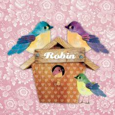 Geboortekaartje Robin - Vrolijk kaartje met vogelhuisje, papa, mama en broertje vogel , leuk voor een tweede kindje - Petit Konijn
