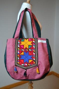 Ethnic Green Red Geometrical pattern Suzani Hobo by margoshka, $48.00