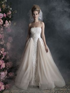 gorgeous embroidery and tulle layers on this @Allure wedding gown