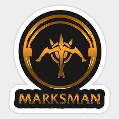 Shop League of Legends MARKSMAN [gold emblem] league of legends stickers designed by Naumovski as well as other league of legends merchandise at TeePublic. League Of Legends, The Marksman, Red Bubble Stickers, Bubble Art, Mobile Legends, Sticker Design, Online Games, Superhero Logos, Geek Stuff