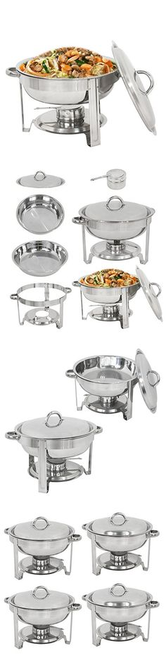 Super Deal Full Size Round Chafing Dish 5 Quart Stainless Steel Tray Buffet Catering, Dinner Serving Buffer Warmer Set, Pack of 4(4)