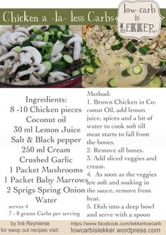 Banting Meal Plan – Low – carb is lekker. A Proudly South African Low carb, High fat, Survival Guide Banting Diet, Banting Recipes, Low Carb Recipes, Real Food Recipes, Cooking Recipes, Healthy Recipes, Easy Cooking, Chicken Recipes, Healthy Food
