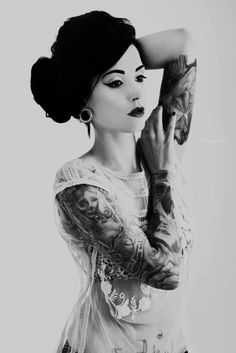 pretty girl Black and White lace sexy beautiful style piercings plugs b&w Grunge tattoos inked punk pin up Alternative tattoed gauges tatted alt tunnels nose ring gauged ears