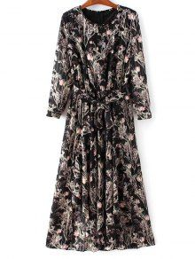 Chiffon Belted Floral Dress - Black - Black L
