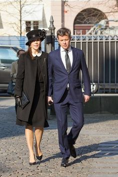 Danish Crown Princess Mary and Crown Prince Frederik attend the funeral for Peter Heering on 16.03.2015 in Copenhagen, Denmark.