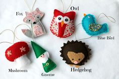 Adorable little woodland creature ornaments. All handmade our of felt.