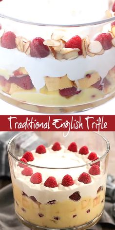 Traditional English Trifle - a classic. Traditional English Trifle - a classic British dessert with layers of cake creme anglaise raspberries jam and whipped cream. Perfect holiday or special occasion indulgence! British Desserts, British Bake Off Recipes, Holiday Desserts, Easy Desserts, Holiday Recipes, Light Desserts, Summer Desserts, Family Recipes, Christmas Trifle