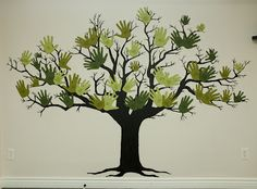 Handprint family tree- Used this as my inspiration in commemorating the baptism of our daughter. We made the leaves out of her foot and hand prints.  They were done in paint on a scrapbook paper tree on canvas.