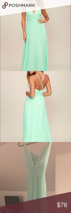Lulu's Mint Maxi Dress - Depths of My Love Brand new, never worn. Tossed the tags so I can't return it. Got for a wedding & went with another style. Dress is a large but fits more like a medium. Make an offer! It's being sold to a resale shop by 6/15. Lulu's Dresses Maxi
