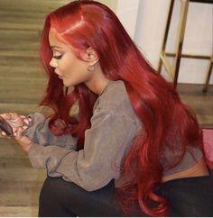 Baddie Hairstyles, Black Girls Hairstyles, Red Weave Hairstyles, Hair Colorful, Curly Hair Styles, Natural Hair Styles, Dyed Natural Hair, Birthday Hair, Hair Laid