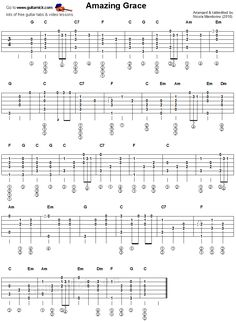 Amazing Grace - fingerstyle guitar tablature