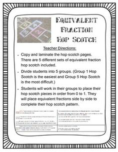 This+is+an+activity+where+students+work+in+groups+to+make+a+hop+scotch+board.+They+use+fraction+cards+from+0+to+1+to+make+their+hop+scotch+board.+They+put+equivalent+fractions+side+by+side+on+the+board.+Teacher+Directions+for+Equivalent+Fractions+Hop+Scotch:1. Multiplying Fractions, Equivalent Fractions, Dividing Fractions, Activity Games, Math Activities, Hopscotch, 3rd Grade Math, Student Work, Education Quotes
