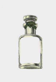 Antique Images: Free Digital Printable Tag: Perfume Bottle Gift Tag with Green Ribbon
