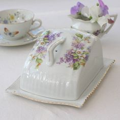Vintage Lilac China Butter Dish