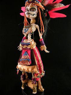 Monster High Doll (Full body)Repaint:: Skelita Calaveras Sugar Skull by Engelmech.