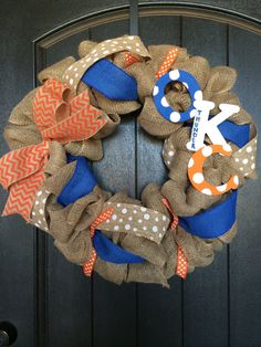 Oklahoma City Thunder burlap wreath by EmmaLeaDesigns on Etsy, $45.00