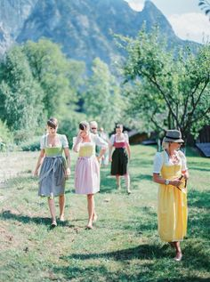 where are these beautiful dirndls when one is searching for octoberfest frocks // Trachten Hochzeit Austria Outdoor Wedding Attersee
