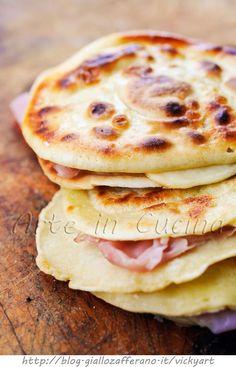 potato pancakes with ham and smoked cheese