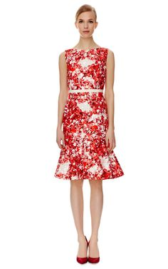 Shop Printed Red Dress by Giambattista Valli Now Available on Moda Operandi
