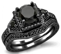 2.05ct black round diamond engagement ring bridal set 14k black gold $1,599