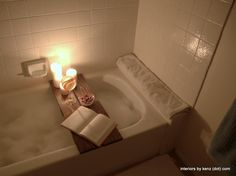 Stage the master bath like this! - DIY Spa-like Bath Tub Caddy - This looks lovely! I mean, the caddy is easily achieved with any wooden board, but the ambience is lovely! Diy Spa, Deco Dyi, Do It Yourself Inspiration, Bathroom Spa, Diy Bathtub, Do It Yourself Home, My New Room, Me Time, Bath Caddy