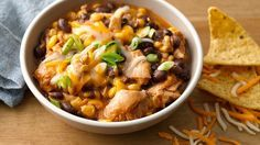 Slow-Cooker Cheesy Chicken Enchilada Chili - make my own taco seasoning and enchilada sauce to cut down the salt content