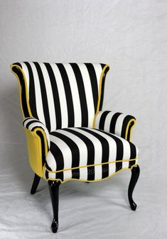 Projects Design Black And White Striped Chair Stripe With Yellow Velvet Vintage Wing Back - Chair Ideas Funky Furniture, Furniture Makeover, Furniture Design, Striped Furniture, Black And White Furniture, Poltrona Bergere, Striped Chair, Patterned Chair, Grey Chair