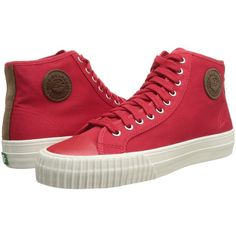 PF Flyers Center Hi ($52) ❤ liked on Polyvore featuring shoes, sneakers, red, sneakers & athletic shoes, lace up shoes, laced shoes, pf flyers, breathable sneakers and red sneakers