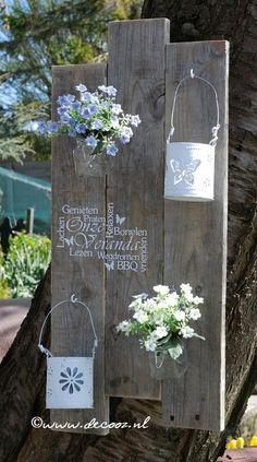 Houten bord, veranda, tekstbord, Houten bord voor in de tuin, steigerhout…