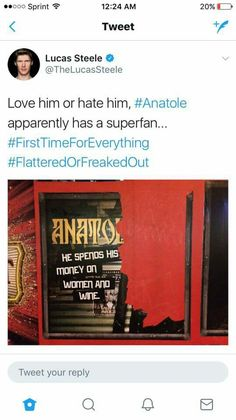 lucas steele and the liberal use of hashtags Theatre Geek, Theatre Quotes, Musical Theatre, Theater, Great Comet Of 1812, The Great Comet, War And Peace Characters, Lucas Steele, Old Prince