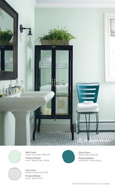 A bathroom oasis. #BenjaminMoore Italian Ice Green 2035-70 with Aura Bath & Spa, matte finish (walls); Marilyn's Dress 2125-60 with Aura, semi-gloss (trim); and, Teal Ocean 2049-30 with ADVANCE, semi-gloss (chair).