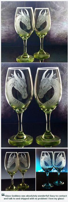 Dragon Wedding wine glass set of two wine goblet set fantasy glassware custom barware host hostess gift ideas personalized wedding gift…