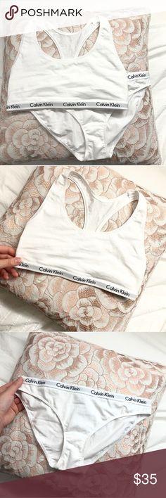 CALVIN KLEIN Underwear Set! White Calvin Klein Sports Bra And bikini style panty set!! Super comfy and trendy too :) Brand new and unused! Calvin Klein Intimates & Sleepwear Bras