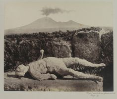 Photograph of the plaster cast of a corpse at Pompeii taken in 1865