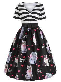 5004d4652ea Cat Print A Line Vintage Dress Dresses For Teens