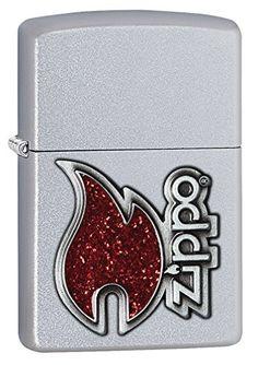 Zippo Flame Emblem Pocket Lighter, Satin Chrome Zippo
