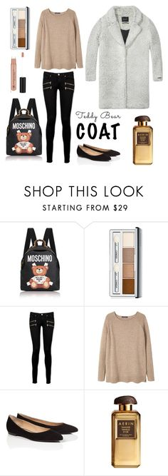 """""""Untitled #580"""" by elizabeth-buttery ❤ liked on Polyvore featuring Moschino, Clinique, Paige Denim, MANGO, Maison Scotch, ESCADA, AERIN and Anastasia Beverly Hills"""