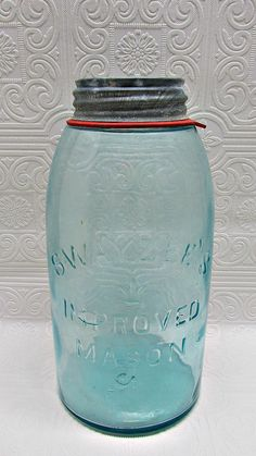 Antique SWAYZEE'S jar with zinc Ball lid Improved by ozarksfinds