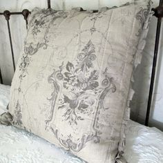 French Style Fabric, Damask Print Linen Euro Sham  Would look great on my slate couch.