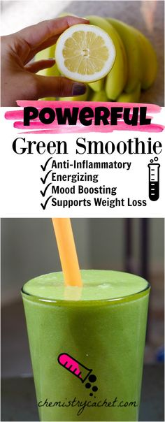 Very powerful energizing anti-inflammatory green smoothie! Great for mood boosting and weight loss too on chemistrycachet.com